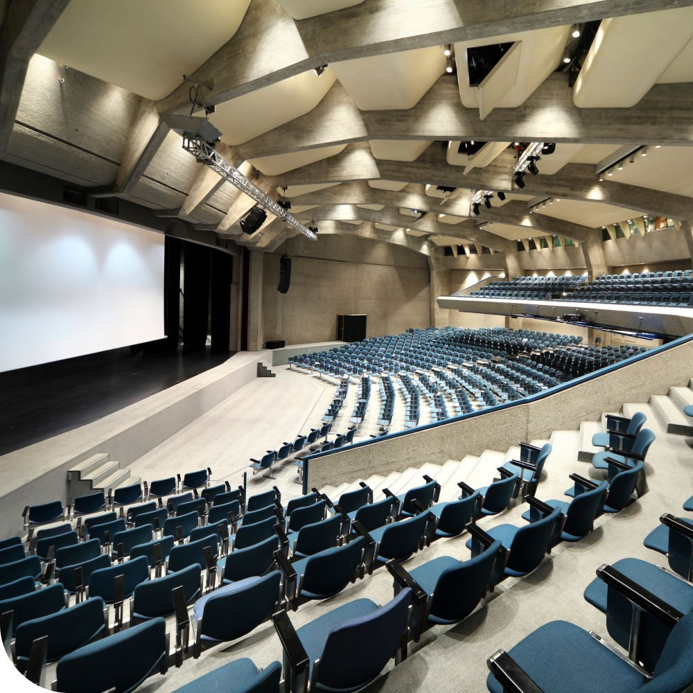 Auditorium seating and presentation screen